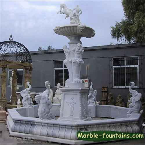 Round White Marble Pool Surround Landscaping Pond Statue