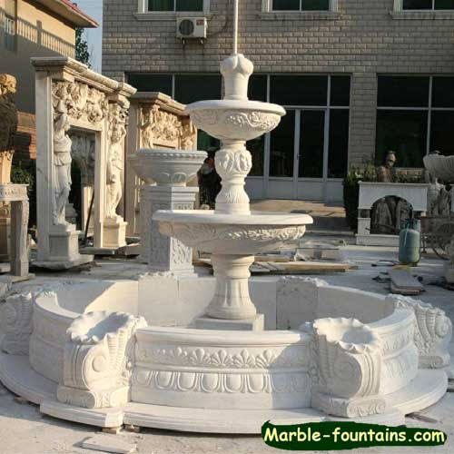 Round white marble pool surround landscaping pond statue for Pond surround ideas