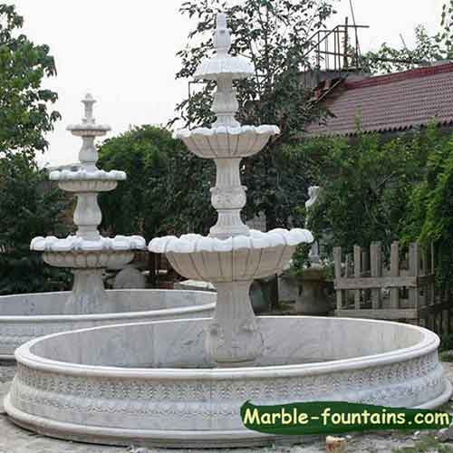 Round White Marble Pool Surround Landscaping Pond Statue Fountain