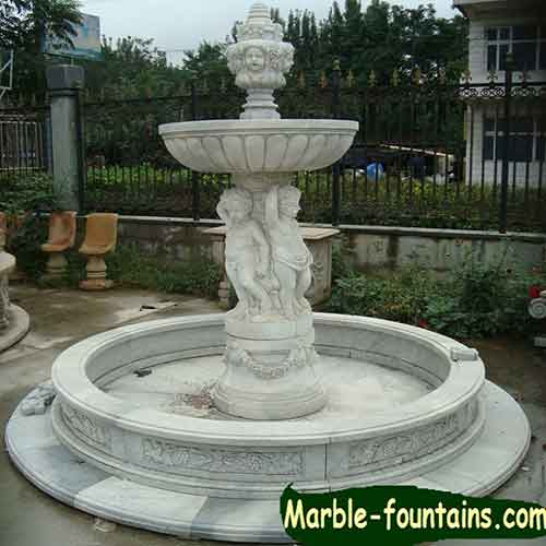 Small Angel Sculpture Marble Wall Fountain And Large