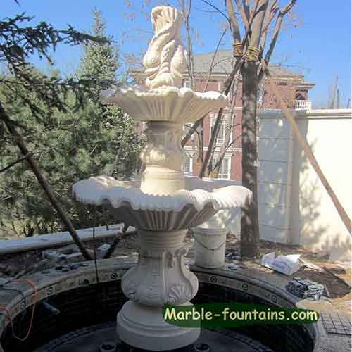 Marble Outdoor Dolphin Water Fountain And Mermaid Fountain