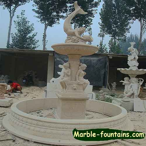 Marble outdoor Dolphin water fountain and mermaid fountain garden