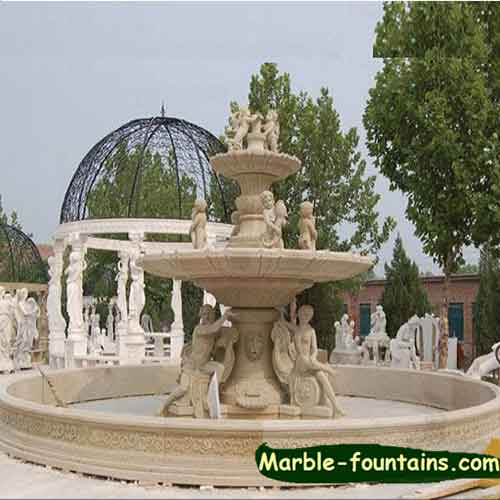 White Marble statuary patio water fountains